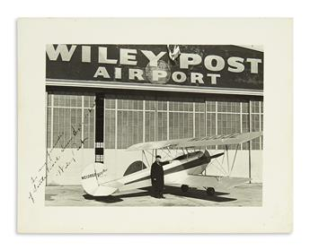 (AVIATORS.) POST, WILEY. Photograph Signed and Inscribed, To my friends / of Little Rock Senior High School,