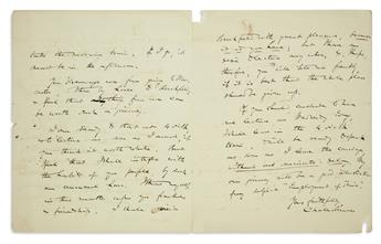 CHARLES SUMNER. Autograph Letter Signed, to Amasa Walker, reluctantly agreeing to lecture on the subject of Emp...