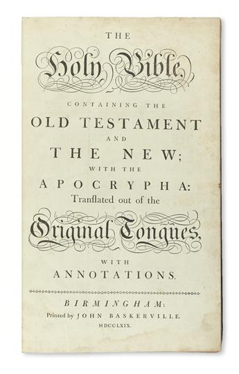 BIBLE IN ENGLISH.  The Holy Bible, containing the Old Testament and the New.  2 parts in one vol.  1769-71