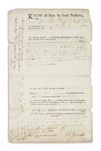 PRESCOTT, WILLIAM. Partly-printed Document Signed, Wm. Prescott, granting the estate shared with his brother James to their younger b