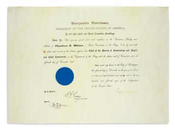 BENJAMIN HARRISON. Partly-printed vellum Document Signed, BenjHarrison, as President, appointing Theodore D. W...