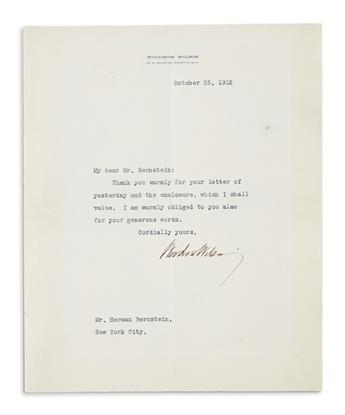 WILSON, WOODROW. Typed Letter Signed, as Governor, to journalist and diplomat Herman Bernstein,