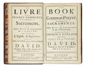 BOOK OF COMMON PRAYER.  Le Livre des Prières Communes . . . The Book of Common Prayer.  1717.  Lacks one leaf.