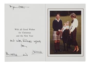 DIANA AND CHARLES; PRINCESS AND PRINCE OF WALES. Christmas card, Signed by both on the second page. Additionally inscribed by Charles: