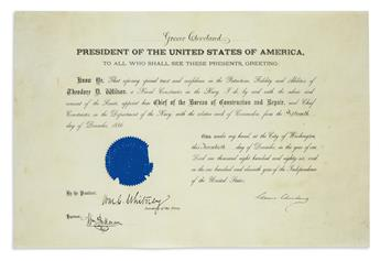 GROVER CLEVELAND. Partly-printed vellum Document Signed, as President, commission appointing Theodore D. Wilson...