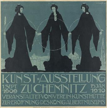 GUSTAV ADOLF SCHAFFER (1881-1937). KUNST = AUSTELLUNG. 1909. 23x22 inches, 58x57 cm. J.C.F. Pickenhahn & Sohn, Chemnitz.
