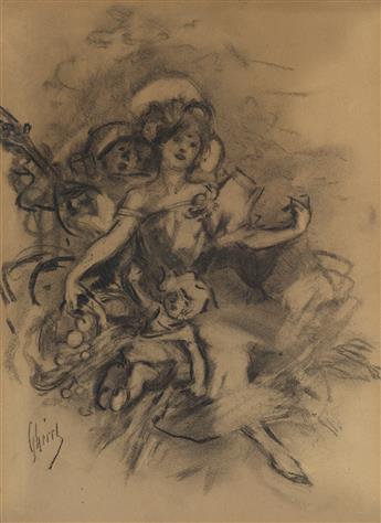 JULES CHÉRET (1836-1932). [DANCER / LA FARANDOLE.] Charcoal drawing. Circa 1890s. 14x10 inches, 35x26 cm.