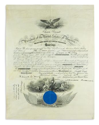 THEODORE ROOSEVELT. Partly-printed vellum Document Signed, as President, military commission appointing John Dow...