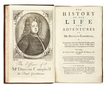 [DEFOE, DANIEL or BOND, WILLIAM, attributed to.]  The History of the Life and Adventures of Mr. Duncan Campbell.  1720