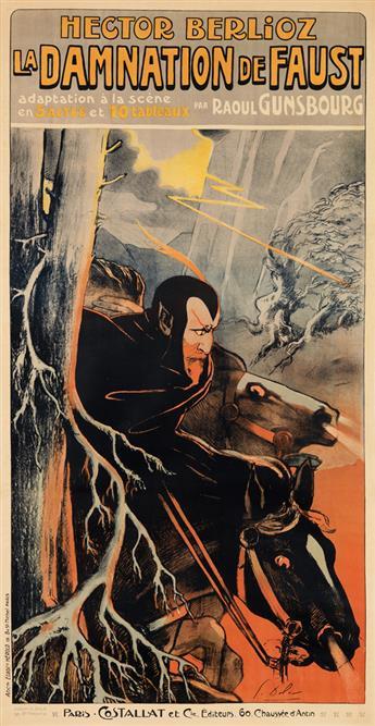 GEORGES DOLA (EDMOND VERNIER, 1872-1950). LA DAMNATION DE FAUST. 1893. 54x28 inches, 138x71 cm. Hérold, Paris.
