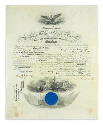 THEODORE ROOSEVELT. Partly-printed vellum Document Signed, as President, appointing Henry D. Wilson Surgeon in t...