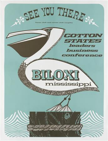 DESIGNER UNKNOWN. BILOXI MISSISSIPPI / COTTON STATES LEADERS BUSINESS CONFERENCE. 41x33 inches, 105x85 cm.