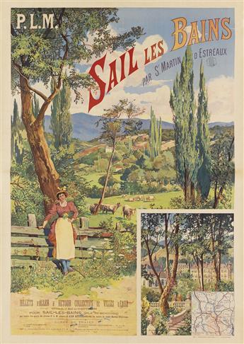 HENRI GANIER TANCONVILLE (1845-1936). SAIL LES BAINS. Circa 1890s. 43x30 inches, 109x78 cm. Berger-Levrault et Cie., Nancy.