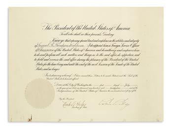 CALVIN COOLIDGE. Partly-printed Document Signed, as President, appointing Samuel R. Thompson Foreign Service Off...