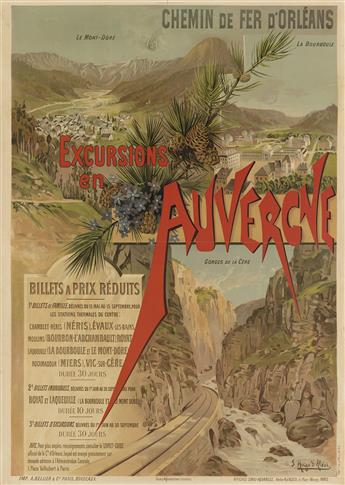 F. HUGO DALÉSI (1849-1906). EXCURSIONS EN AUVERGNE. 1894. 41x29 inches, 105x75 cm. A. Bellier & Cie., Paris.