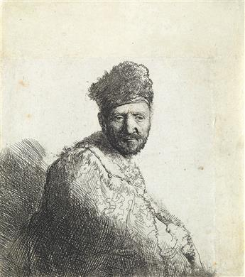 REMBRANDT VAN RIJN Bearded Man in a Furred Oriental Cap and Robe: The Artist's Father.