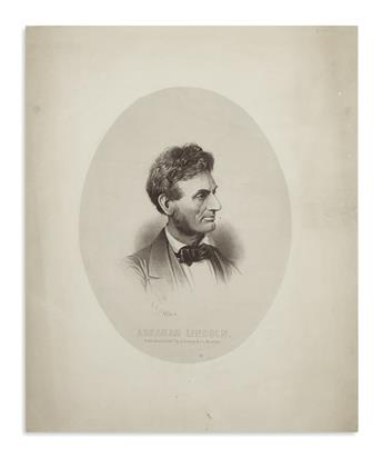 (PRINTS--PRESIDENTIAL.) Prang, Louis, lithographer. Very early presidential portrait, making a guess at the new whiskers.