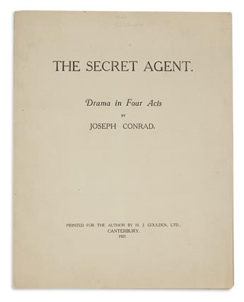 CONRAD, JOSEPH. The Secret Agent. Drama in Four Acts.