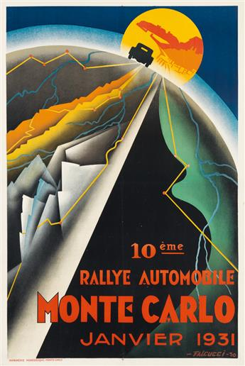ROBERT FALCUCCI (1900-1989). 10ÈME RALLYE AUTOMOBILE MONTE CARLO. 1931. 47x31 inches, 119x80 cm. Monégasque, Monte Carlo.