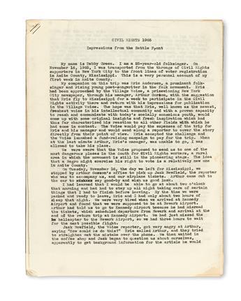 (CIVIL RIGHTS--VOTER REGISTRATION.) GREEN, DEBORAH (DEBBIE). CIVIL RIGHTS 1965, Impressions from the Battle Front.