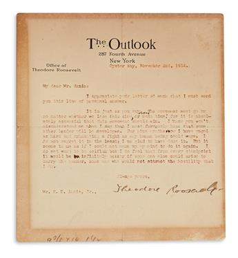 ROOSEVELT, THEODORE. Typed Letter Signed, to R.E. Annin, Jr.,