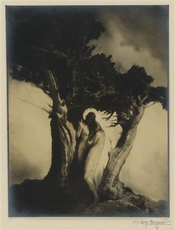 ANNE BRIGMAN (1869-1950) Heart of the Storm (Guardian Angel figure protecting a frightened woman).