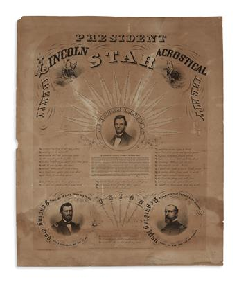 (PRINTS--EMANCIPATION.) Clay & Cossack; engravers. President Lincoln Acrostical Star.