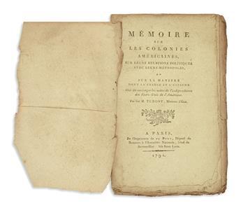 (AMERICAN REVOLUTION--HISTORY.) Turgot, [Anne Robert Jacques]. Mémoire sur les colonies Américaines.