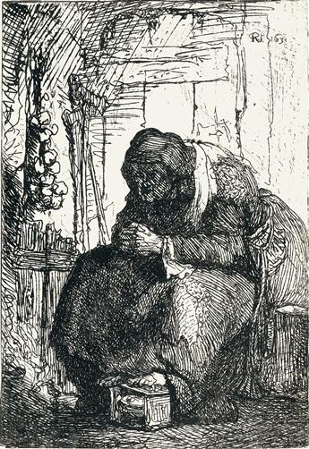 REMBRANDT VAN RIJN An Old Woman Seated in a Cottage, with a String of Onions on the Wall.