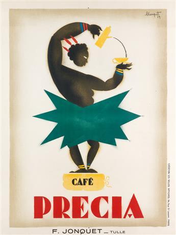 CHARLES LOUPOT (1892-1962). CAFÉ PRECIA. 1924. 31x23 inches, 78x59 cm. Les Belles Affiches, Paris.