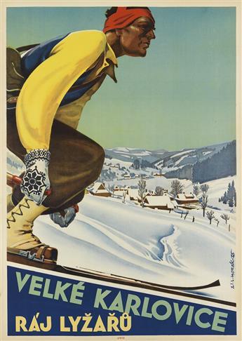 LADISLAV HORAK (1904-?). VELKÉ KARLOVICE / RÁJ LYZARU. 1946. 33x23 inches, 84x59 cm. Unie, [Prague.]