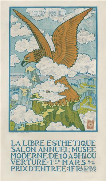 GISBERT COMBAZ (1869-1941). LA LIBRE ESTHETIQUE SALON ANNUEL. 1900. 28x16 inches, 73x42 cm. O. de Rycker & Mendel, Brussels.