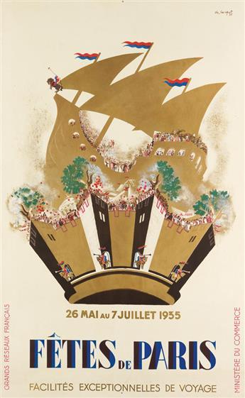 CHARLES LOUPOT (1892-1962). FÊTES DE PARIS. 1935. 39x24 inches, 99x61 cm.