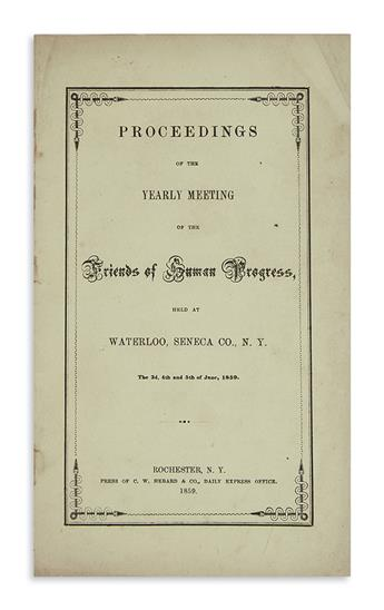 (SLAVERY AND ABOLITION.) Proceedings of the Yearly Meeting of the Friends of Human Progress.