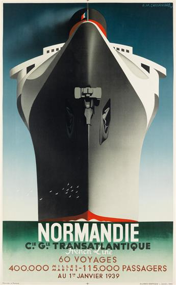 ADOLPHE MOURON CASSANDRE (1901-1968). NORMANDIE / FRENCH LINE / 60 VOYAGES. 1938. 39x24 inches, 99x62 cm. L. Danel, Paris.