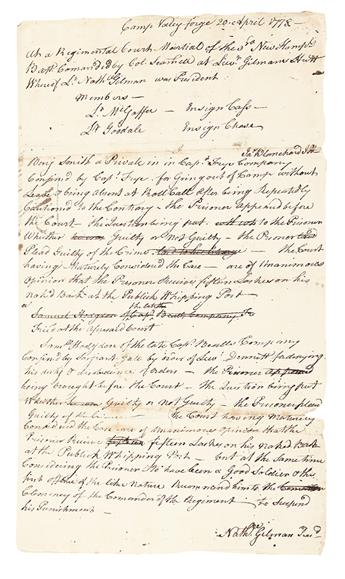 (AMERICAN REVOLUTION--1778.) Minutes of a regimental court martial at Valley Forge.