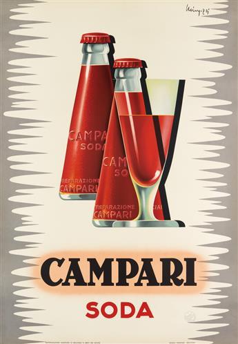 GIOVANNI MINGOZZI (1891-?). CAMPARI SODA. 1950. 38x26 inches, 97x67 cm. Studio Mingozzi, Bologna.