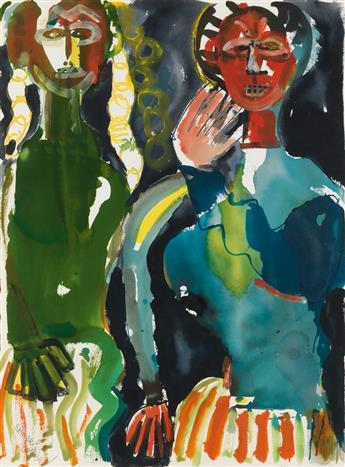 ROMARE BEARDEN (1911 - 1988) Obeah Woman with her daughter (La Sorcière avec sa fille).