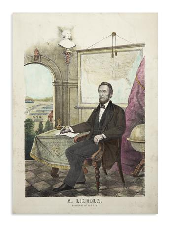(PRINTS--PRESIDENTIAL.) Group of 6 large prints of Lincoln as president.