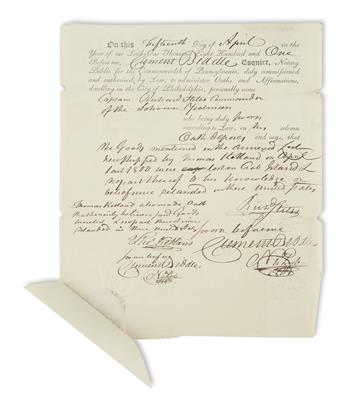 BIDDLE, CLEMENT. Partly-printed Document accomplished and Signed, thrice, as Notary,