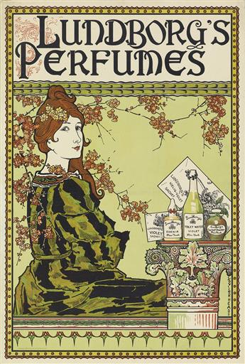 LOUIS J. RHEAD (1858-1926). LUNDBORGS PERFUMES. Window card. 1894. 17x12 inches, 45x30 cm. The Gast Lith. & Eng. Co., New York.