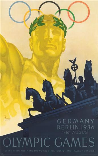 FRANZ WÜRBEL (1896-?). OLYMPIC GAMES. 1936. 39x25 inches, 101x63 cm.