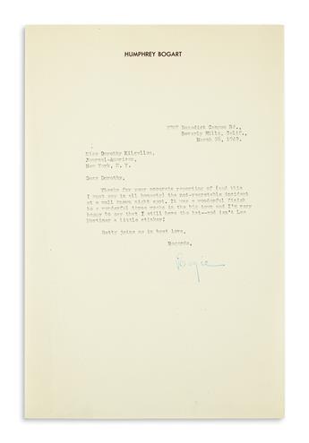 BOGART, HUMPHREY. Typed Letter Signed, Bogie, to columnist Dorothy Kilgallen,