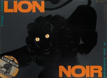 CHARLES LOUPOT (1892-1962). LION NOIR / CIRAGE - CRÈME. 1949. 46x63 inches, 116x160 cm. Atelier Loupot, Paris.