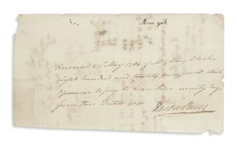 BURR, AARON. Autograph Document Signed, promissory note:
