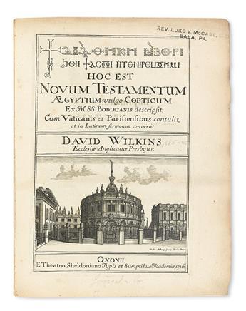BIBLE IN COPTIC.  Novum Testamentum Aegyptium vulgo Copticum.  1716