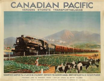 P.J. WRIGHT (DATES UNKNOWN). CANADIAN PACIFIC / VERDENS STØRSTE TRANSPORTSELSKAB. Circa 1928. 33x42 inches, 85x106 cm.