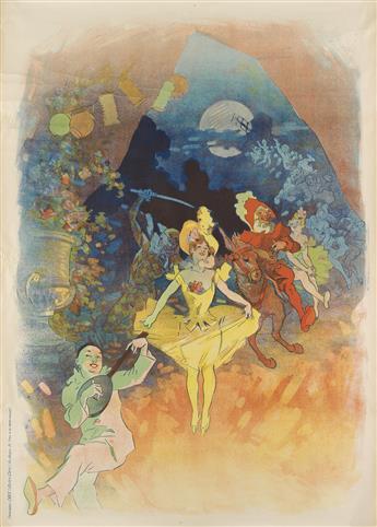JULES CHÉRET (1836-1932). [MUSÉE GRÉVIN / THÉÂTRE LES FANTOCHES DE JOHN HEWELT.] 1900. 49x35 inches, 124x89 cm. Chaix, Paris.