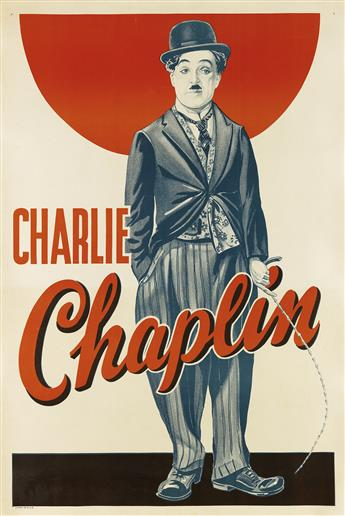 DESIGNER UNKNOWN. CHARLIE CHAPLIN. Circa 1930s. 41x27 inches, 104x69 cm.