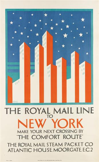 HORACE TAYLOR (1881-1934). THE ROYAL MAIL LINE TO NEW YORK. Circa 1925. 40x24 inches, 101x63 cm. The Baynard Press, [London.]